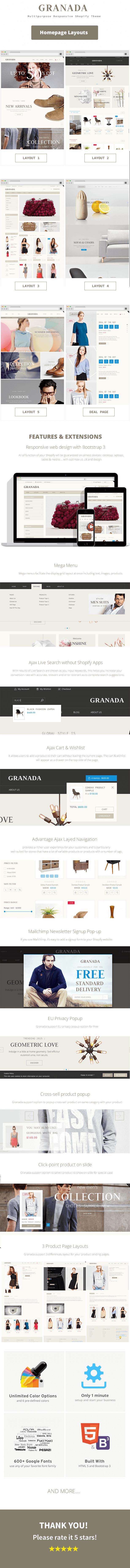 Responsive Multipurpose Shopify Theme Granada